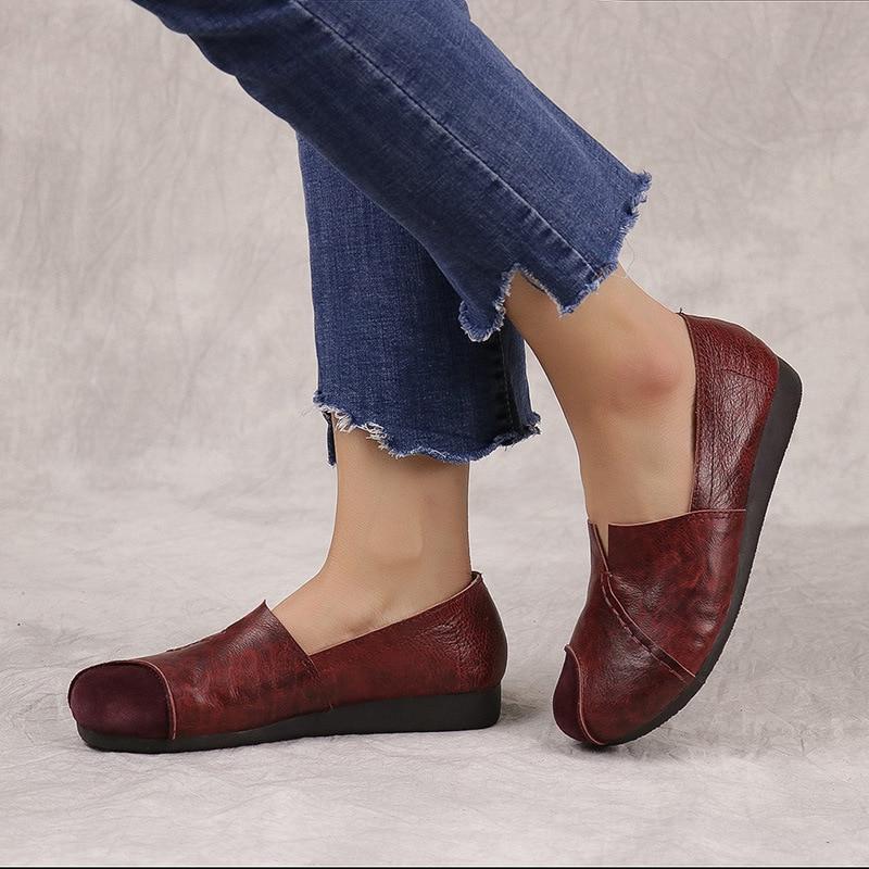 Superficial Solo Piel Cuero Color burgundy Ronda de Nuevos Casuales 3 La De Zapatos Las Brown Cómoda Suave 068 Vaca Suela Mujeres Cabeza Zq0Tv4