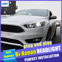 New design For ford focus head lamps 2015 2018 bi xenon lens Demon Eyes HID KIT headlights car styling led double U drl