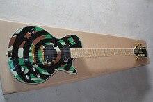Top qualité GYLP-3061 camouflage vert couleur avec cercle motif or matériel ZAKK WYLDE Guitare, Livraison gratuite