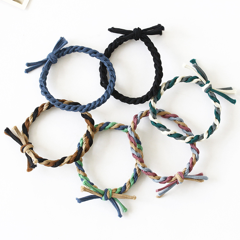 10 Patterns Solid Colors & 3 Mix Color Twist Rope Knot Elastic Hair Bands Headwear For Women Ponytail Holder Hair Accessories