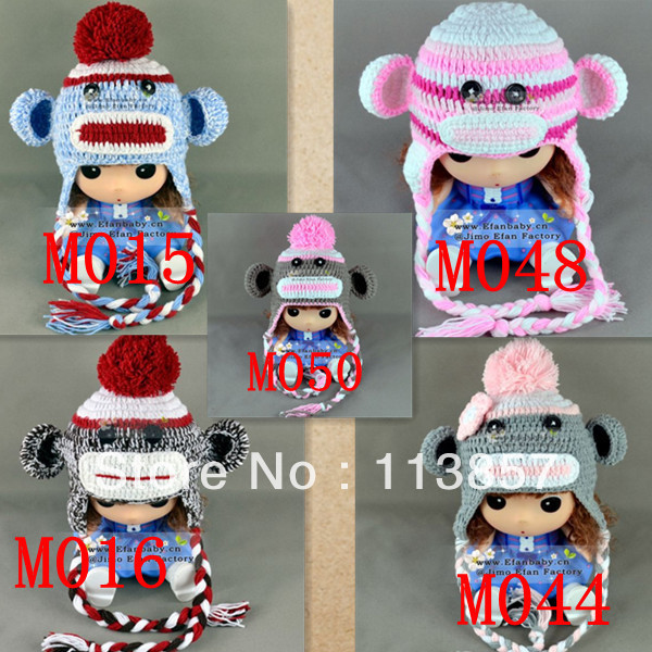 New Styles Hand Knitted Monkey Animal Character Winter Baby Beanie