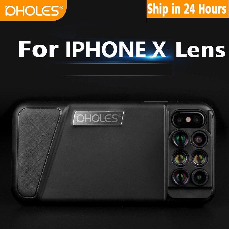 Nouveau Pour iPhone X Double Caméra Lentille 6 dans 1 Fisheye Grand Angle Macro Objectif Pour iPhone X 10 Télescope zoom Lentilles + Cas