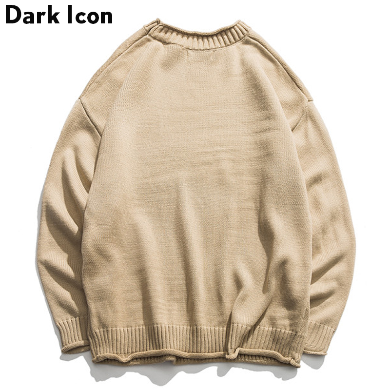 Dinosaur Lovely Sweater Men 2019 Winter Pullover Men's Sweaters Oversized Boy Student Sweater Black Khaki