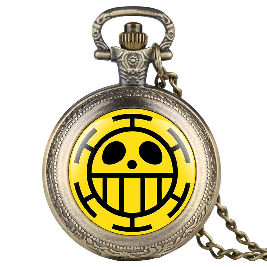 One Piece Quartz Pocket Watch Men Necklace Pendant Big Smile Casual Fob Watches Clock For Kids Male 2019 Gifts