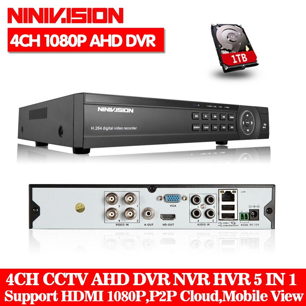 NINIVISION 4CH 8CH 1080P 5 in 1 DVR video recorder for AHD camera analog camera IP camera P2P NVR cctv system DVR H.264 VGA HDMI