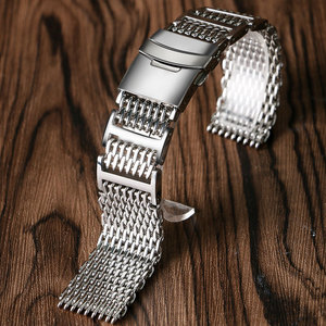Image 2 - 20mm 22mm 24mm Luxury Shark Mesh Watch Band Strap Stainless Steel Replacement Folding Clasp with Safety Silver+ 2 Spring Bars