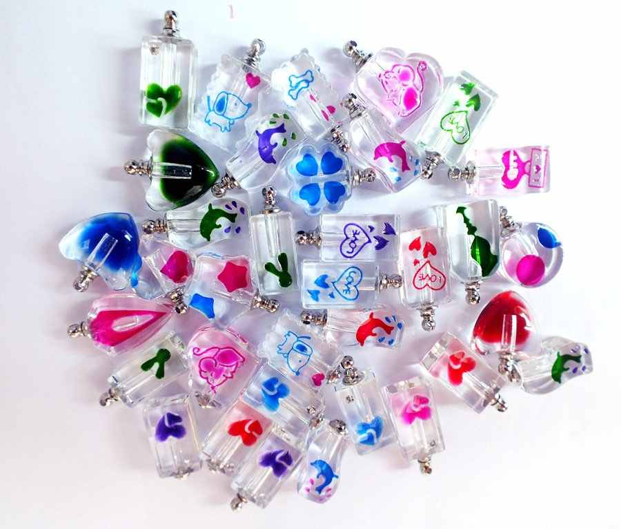 Бесплатная Доставка! Форма смешанного цвета смешанный дизайн кристалл Духи подвесные флаконы рисовые подвески