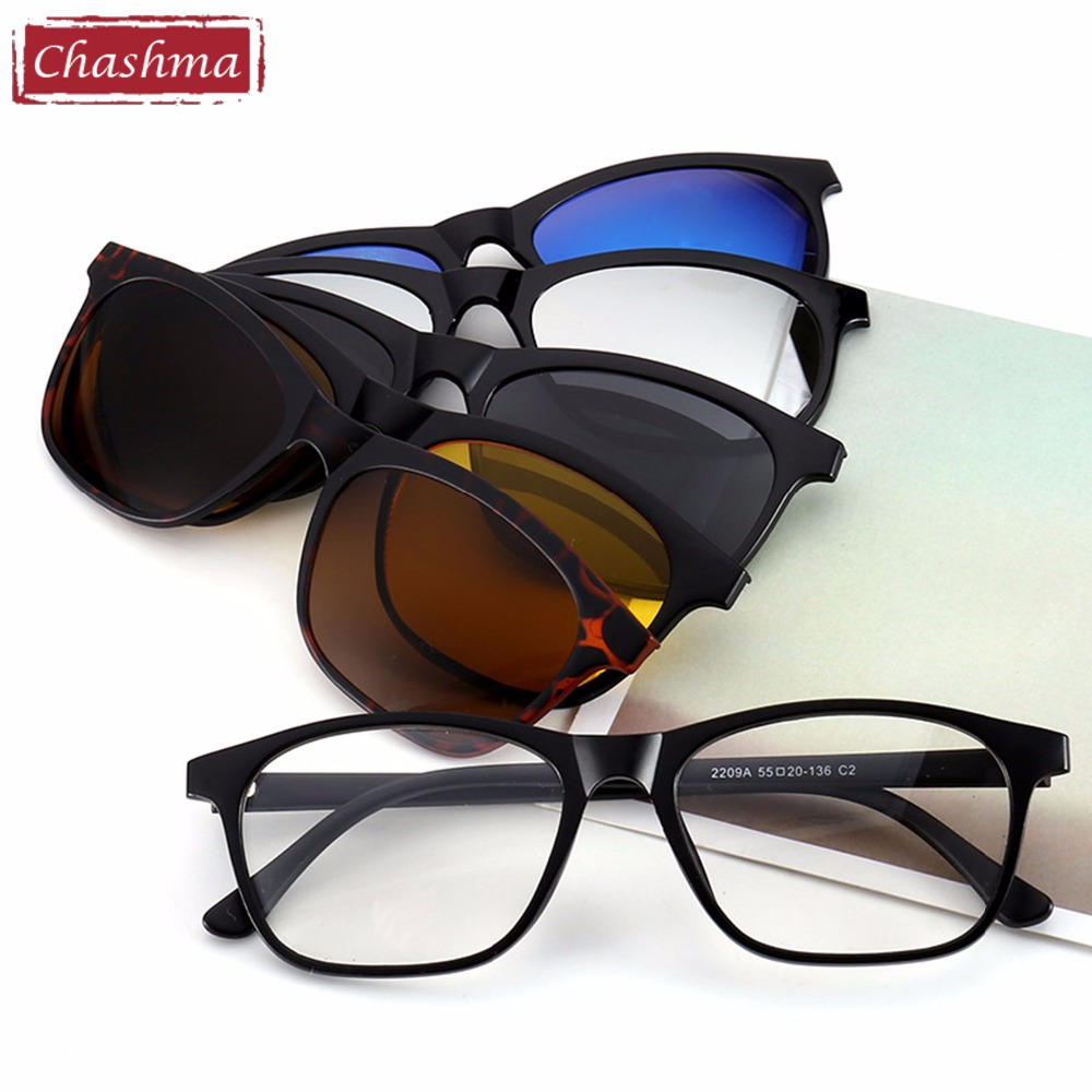 Chashma Brand Clip Sun Glasses Optisk Glass Ramme med Clip Polarized Solbriller for Kvinner og Menn Magnetic Glasses