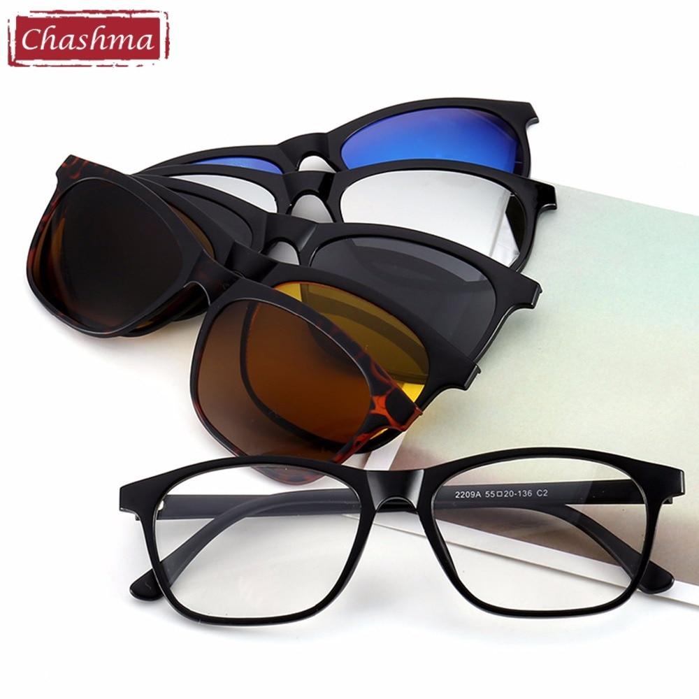 Chashma Brand Clip Gafas de sol Gafas ópticas Marco con gafas de sol polarizadas para las mujeres y los hombres