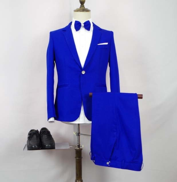 Blue man suit male singer chorus costume factory direct host wedding suits men suit suit with pants