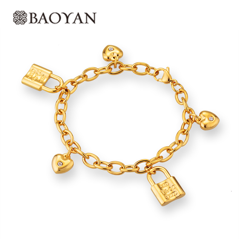2016 New Lock And Heart Charm Stainless Steel Bracelet For ...