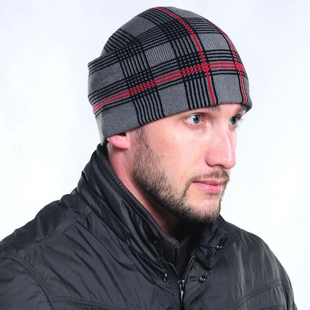 Классический Плед хлопок Шапочки Трикотажные мужские Зимние Hat Skullies Bonnet зимние Шапки Для Мужчин Женщины Шапочка Теплый Багги Шерсть Вязаный Caps