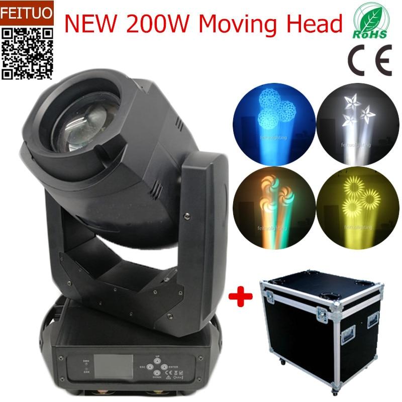 2 pz + caso di volo Gobo 200 w Zoom Testa Mobile A LED Lira Della Discoteca di Illuminazione Spot del Fascio di Rotazione Prisma Luces luce della Fase di Zoom Luci