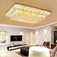 Modern Rectangular Crystal Ceiling Lamp K9 Luxury Living Room Ceiling Lights E14 Bulbs Golden LED Lighting