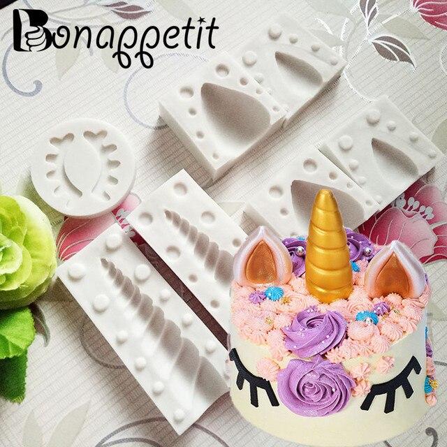 3D единорог ушной глаз силиконовая форма для выпечки пирожных инструмент детский торт ко дню рождения помадка форма для шоколада сладостей Декор