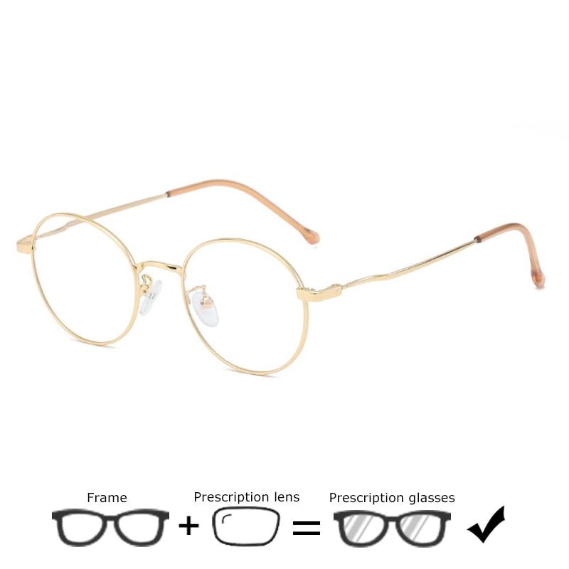 High Quality Alloy Glasses Women Men Retro Designer Round Myopia Spectacles Prescription Optical Frames Plain Decorative Glasses in Women 39 s Prescription Glasses from Apparel Accessories