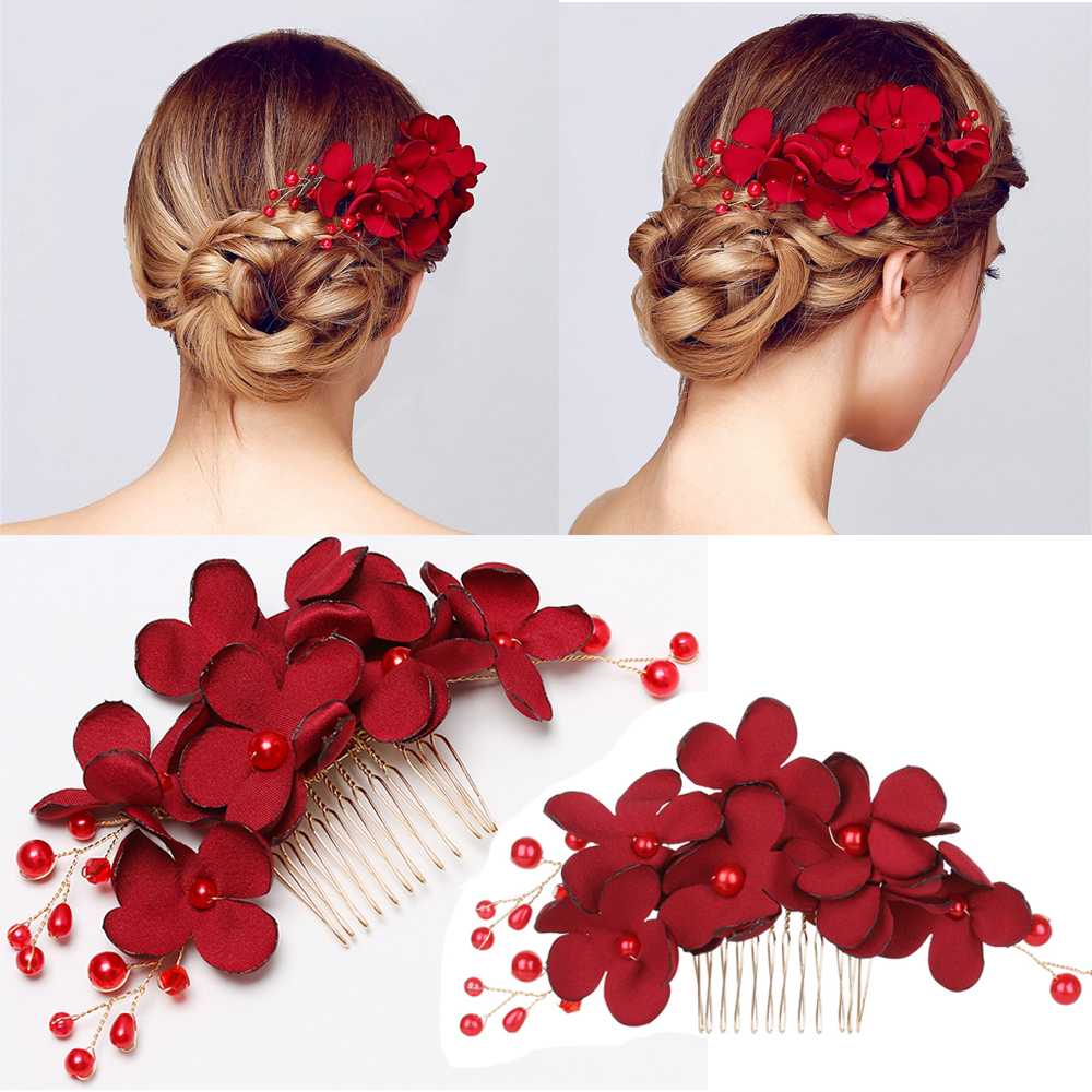Jewelry Hairpin Flower Wedding-Hair Crystal Bridesmaid Women Fashion 1pcs Red for Party