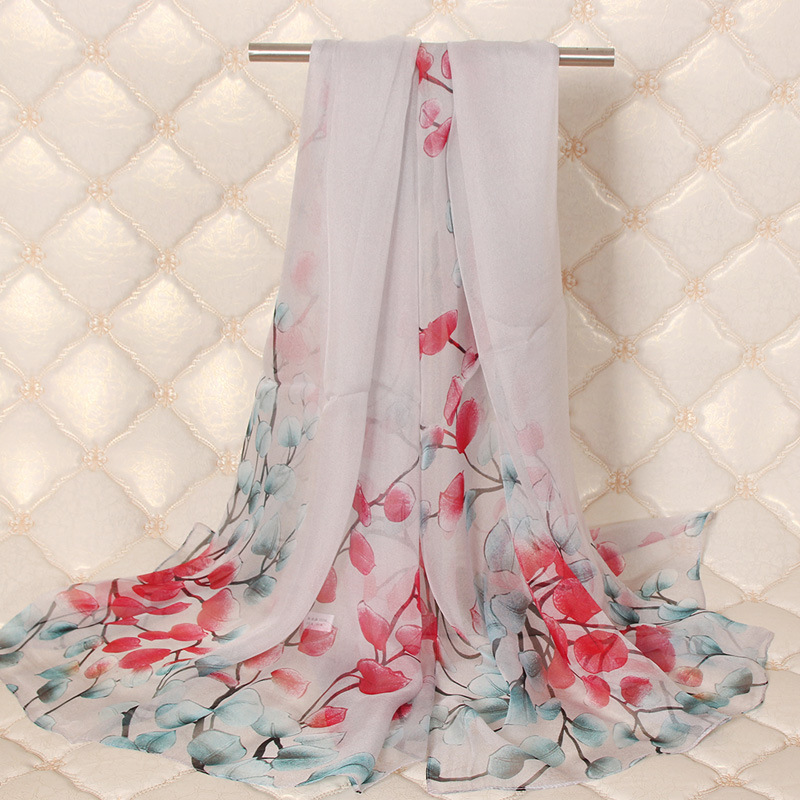 Woman Silk Scarf Female Long Section 100% Wild Spring And Autumn Winter Neck Multi-Function Shawl C302