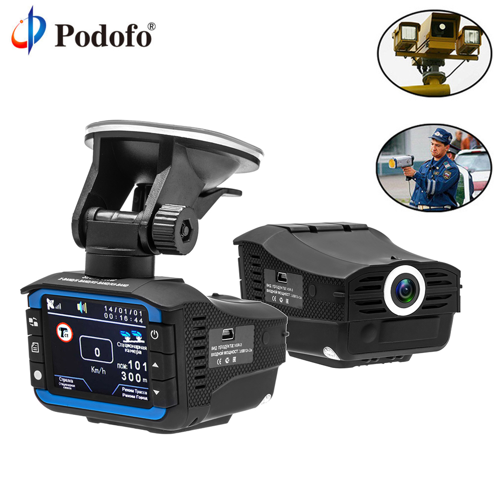 Podofo Car DVR Radar Detector GPS Tracker 3 in 1 Car Full HD 1080P Camera Video Recorder Registrar Russian Anti Radar Dash Cam