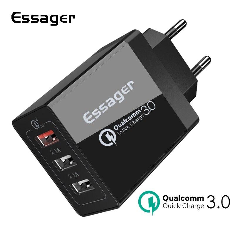 Essager Charge Rapide 3.0 3USB Chargeur 30 w QC3.0 Charge Rapide USB Chargeur Mural Pour iPhone Samsung Xiao mi mi mobile Téléphone Chargeur