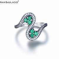 Pandulaso Letter S Shape Ring With Green CZ 925 Sterling Silver Jewelry Rings For Woman Jewelry