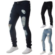 HEFLASHOR Men Hole Pencil Pant Spring Fashion Skinny Jeans Men Punk Stretch Denim Pencil Pants Hip Hop Trouser Bottom Streetwear(China)