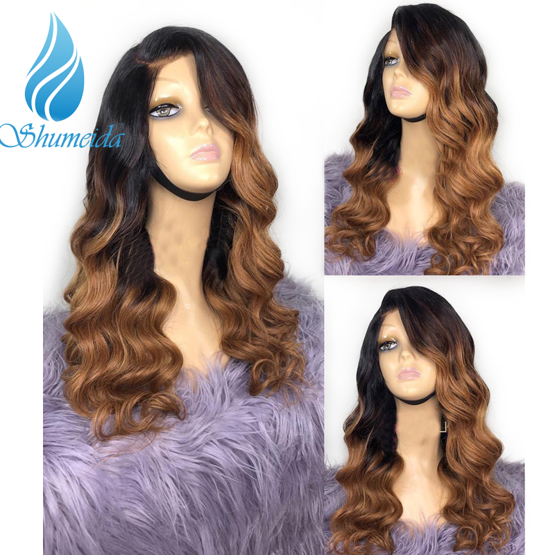 SHD Ombre Brown 13 6 Lace Frontal Wigs Baby Hair Brazilian Body Wave Lace Front Human