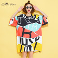 BelineRosa 2016 Fashion Women Clothing Women's European Style Colorful Show Slim Printing Women Shirts Dress Fit XL~4XL HS0096
