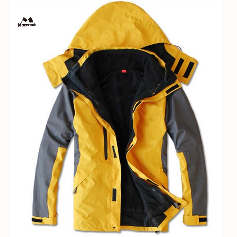 MAZEROUT 2017 Man Winter 3 in 1 Waterproof Fishing Skiing Warm Trekking Hiking Outdoor Jacket Thermal Camping Sport Plus Size J3