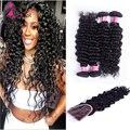 Tecer cabelo humano com encerramento rosa produtos de cabelo 4 feixes com fechamento frontal bom cabelo virgem malaio onda profunda dupla trama