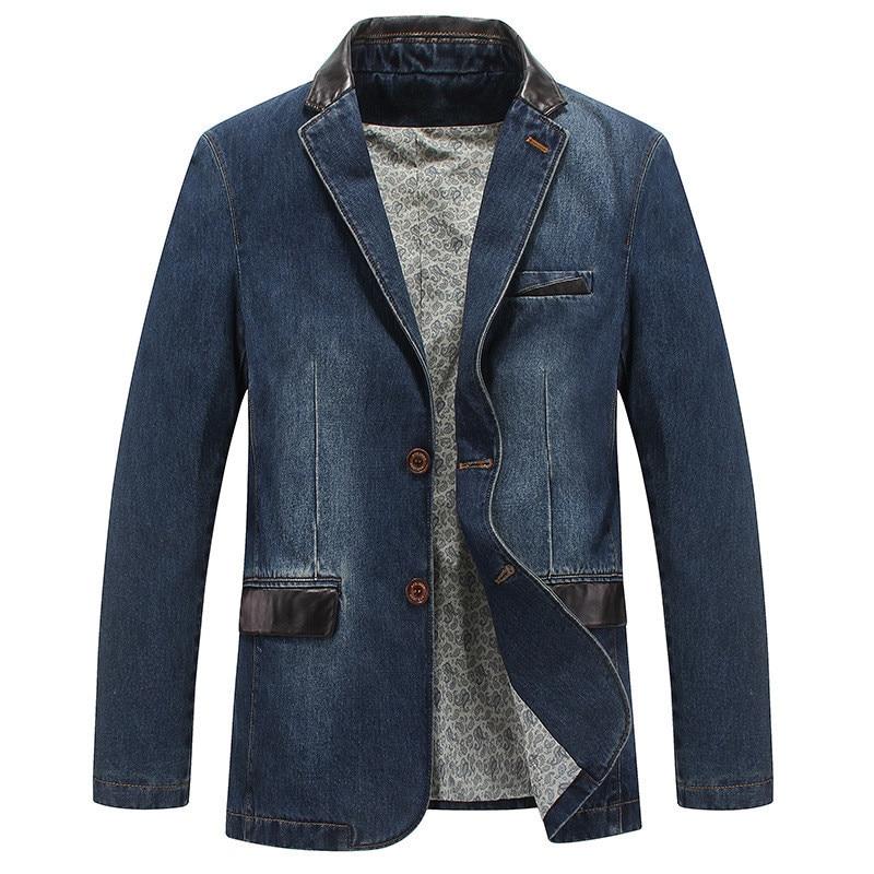 Erkek Kıyafeti'ten Ceketler'de MORUANCLE erkek Kot Ceket Ve Mont Iş Blazer Takım Erkek Jean Rüzgarlık Trençkot Deri Patchwork Artı Boyutu M 4XL'da  Grup 1