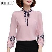 DHIHKK New Women Blouses Shirts Long Sleeve Bow Tie Refined Elegance Blouse Formal Office Lady Chiffon
