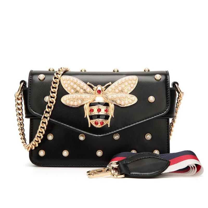 New Famous Brand Women Messenger Bags Small Chain Crossbody Bags Female Luxury Shoulder Bag Pearl Handbag 2019 Red White Black