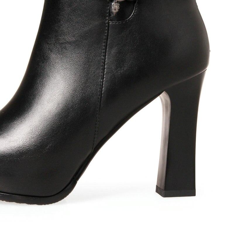 Bottes Femmes Bout Chaussures Cm rouge Cheville Plate Rouned Mariage Dames Noir 2019 forme Noir De 10 Rouge Haute Talons Nouveau Femme HIW9EDYe2