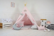 Купить с кэшбэком Laeacco Tent Wigwam Baby Toys Pillow Party Chic Wall Portrait Interior Photo Backdrop Photographic Backgrounds For Photo Studio