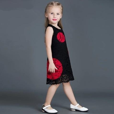 Cute Girls Red Black Dresses Baby Girls Party Dress Summer
