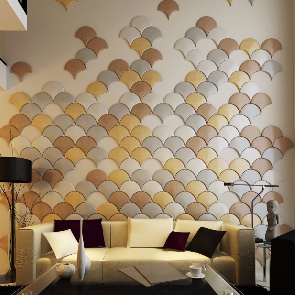Buy 3d leather wall sticker peel and for Living room 3d tiles