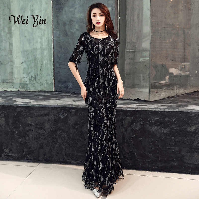 weiyin 2019 Saudi Arabic Black Sequins Mermaid Evening Dress Half Sleeves  O-neck Elegant Women e8f020c8cc0e