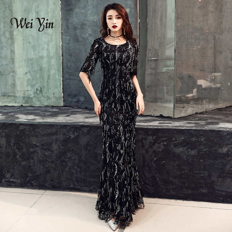 weiyin 2019 Saudi Arabic Black Sequins Mermaid   Evening     Dress   Half Sleeves O-neck Elegant Women Formal   Dress   Party Prom   Dresses