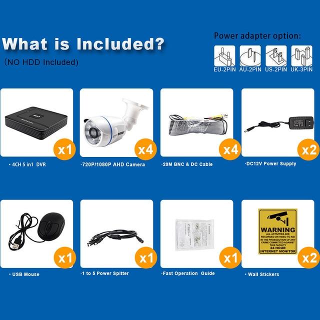 Smar 4CH 1080N AHD Kit DVR 5 en 1 | 4 pièces 720P/1080P, Kit de caméras AHD IR, système de vidéosurveillance étanche pour lextérieur, ensemble de sécurité