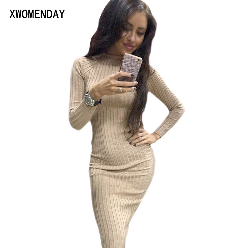 Autumn Women Bodycon Sheath Dress Sexy Red Knitted Cotton Long Sleeve 2019 Pure Casual Black Midi