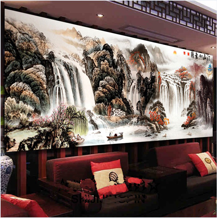 Needlework,DMC DIY Cross stitch,full Embroidery kit set,Rich River Mountains waterfall Chinese Scenic Cross-Stitch painting