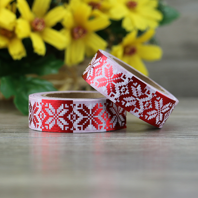 Red Christmas Foil Washi Tape Japanese Paper 10m Kawaii Masking Tape Photo Album Diy Decorative Tapes high quality gold foil 10m paper tape dot strip pineapple heart christmas decorative washi tape 1pcs