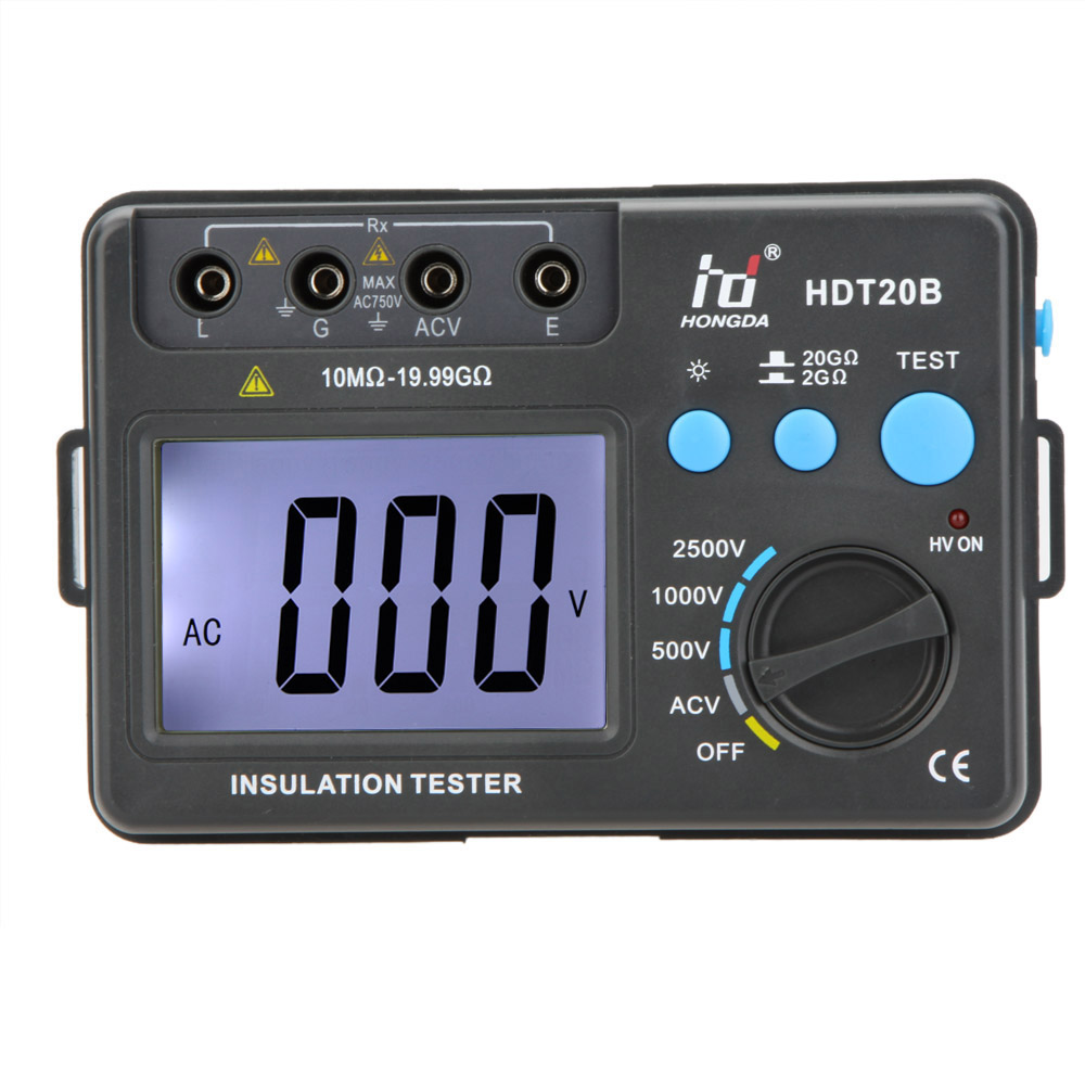 LCD Backlight Insulation Tester Professional HD HDT20B Insulation Resistance Tester Meter Megohmmeter Voltmeter 2500V