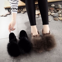 SWONCO Women's Loafers 2018 Winter Shoes Fashion Faux Fur Casual Slip On Warm Winter Shoe Women Shoes Flat Leather Woman Shoe