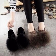 SWONCO femmes mocassins 2018 chaussures dhiver mode fausse fourrure décontracté sans lacet chaud hiver chaussure femmes chaussures en cuir plat femme chaussure