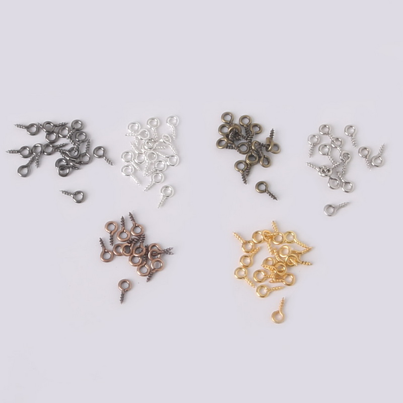 Beadia 600pcs 4*9mm Small Tiny Mini Eye Pins Eyepins Hooks Eyelets Screw Threaded Silver Clasps Hooks Jewelry Findings