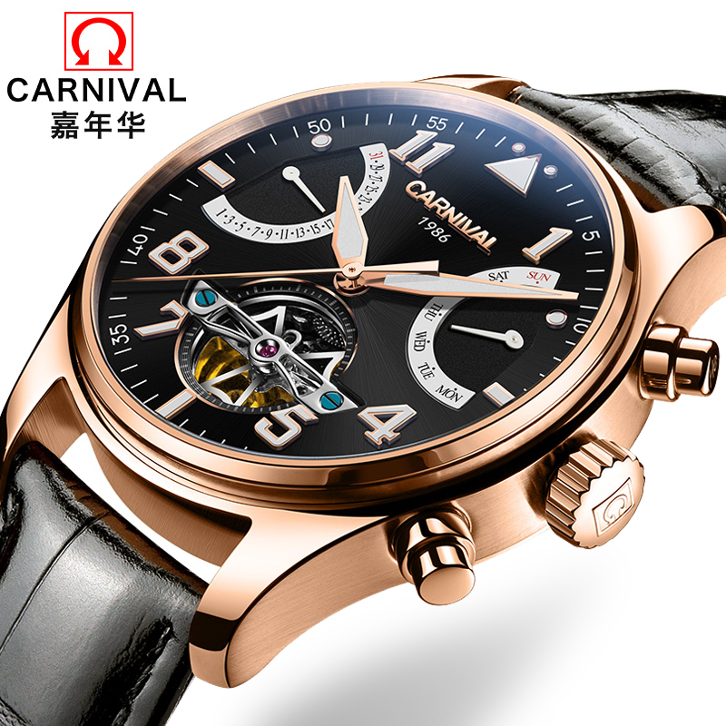 Switzerland Carnival Brand Luxury Mens Watches Multi-function Watch Men Sapphire reloj hombre Luminous relogio Clock C8783-9 wrist switzerland automatic mechanical men watch waterproof mens watches top brand luxury sapphire military reloj hombre b6036