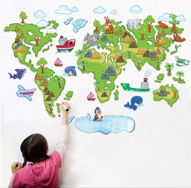 Colour World Map Removable Wall Stickers Kids Nursery Baby Room