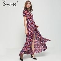 Simplee Sash V Neck Floral Print Long Dress Women Short Sleeve Split Summer Dress Streetwear Casual